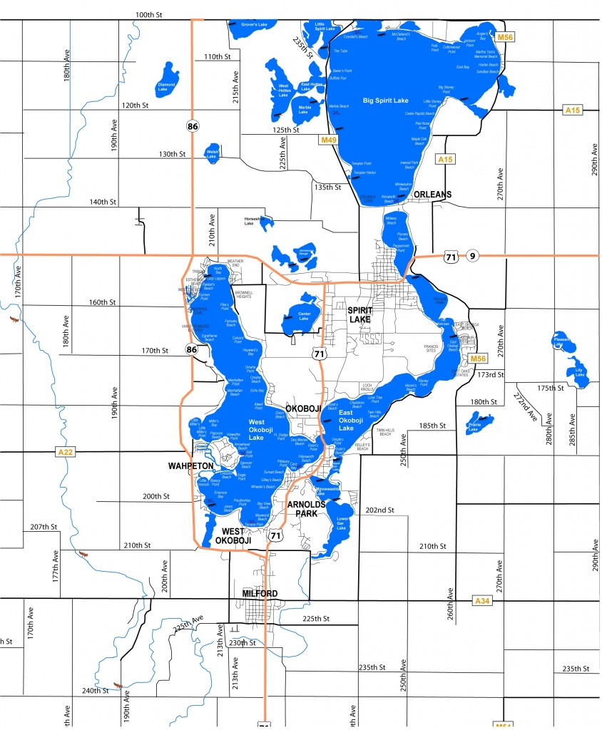 Lake Maps Sizes Amp Depths  Iowa Great Lakes Association